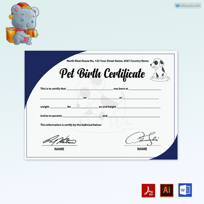 Pet Birth Certificate (with Bule Background)