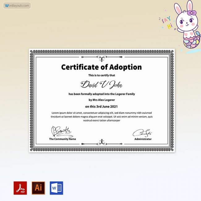 Pet Adoption Certificate (White & Black Combination)