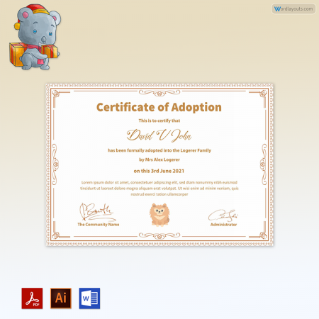 Pet Adoption Certificate (with Attractive Border)