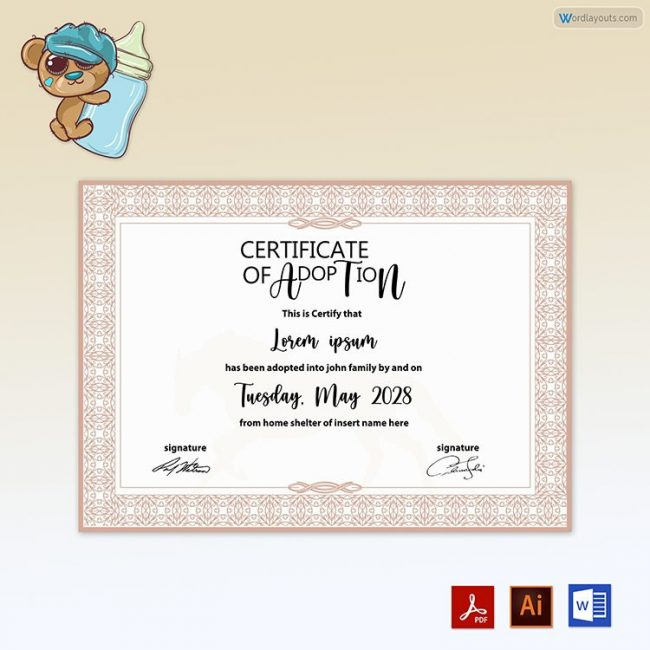 Pet Adoption Certificate ( with Horse Vector in Background)