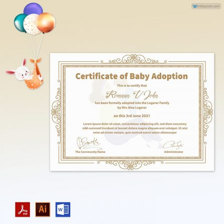 Baby Adoption Certificate (Mother & Baby Vector in Background)
