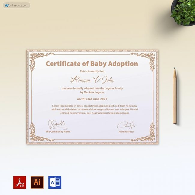 Baby Adoption Certificate (Double Tone Background)