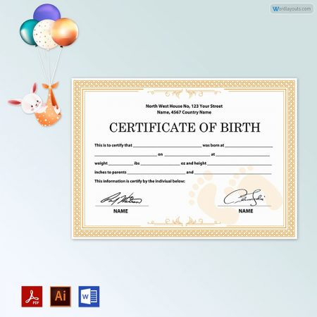 Birth Certificate (with Baby Feets)