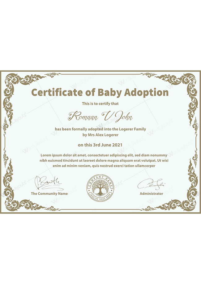 Baby Adoption Certificate (with Stamp)