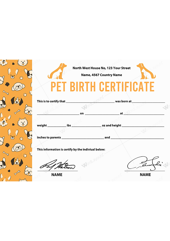 Pet Birth Certificate (with Side Cat & Dog Vector)