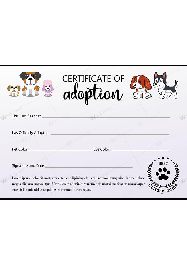 Pet Adoption Certificate ( Multi-Tone Background)