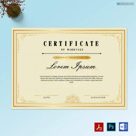 Double Tone Border Marriage Certificate
