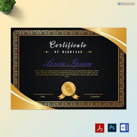 Black & Golden Marriage Certificate