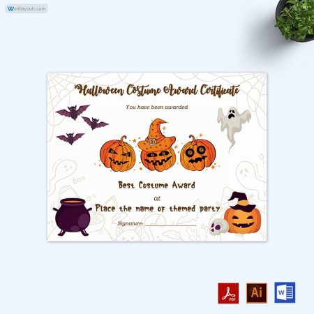 Halloween Award Certificate 10