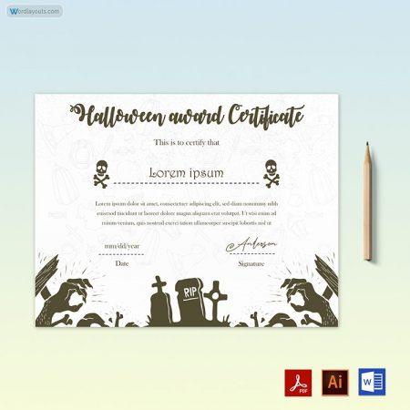 Halloween Award Certificate 15