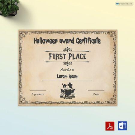 Halloween Award Certificate 05