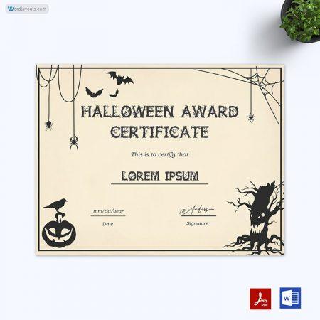 Halloween Award Certificate 11
